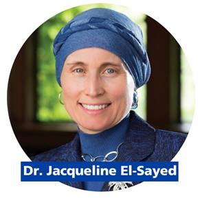 Picture of woman wearing blue headscarf, smiling with name Jacqueline El Sayed